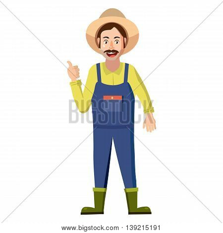 Farmer icon in cartoon style on a white background