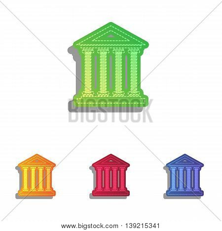 Historical building illustration. Colorfull applique icons set.