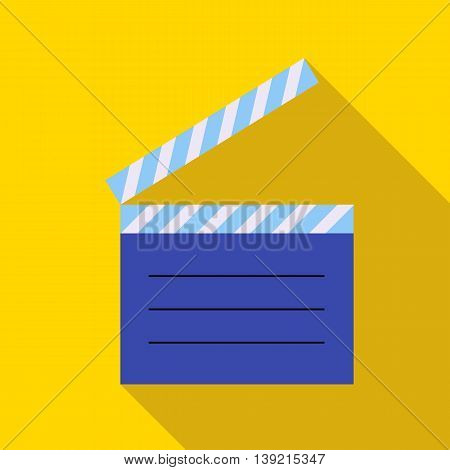 Movie clapper icon in flat style on a yellow background