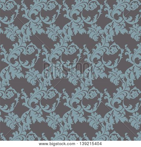 Vector floral damask pattern background. Luxury classic floral damask ornament royal Victorian vintage texture for textile fabric. Blue serenity and granite color