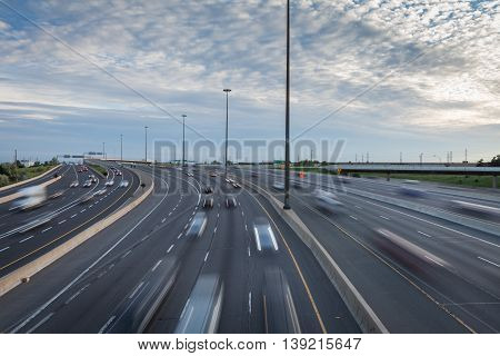 Major Highway In The Early Evening In Toronto, Canada