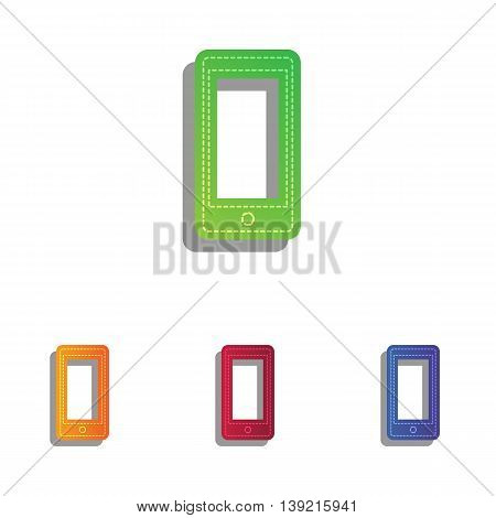 Abstract style modern gadget with blank screen. Template for any content. Colorfull applique icons set.