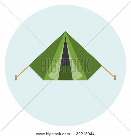 Vector military tent, green tent, flat design