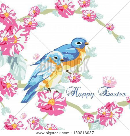 Spring Card with Watercolor flowers and pigeons. Beautiful Easter card with blossom flowers and pigeons. Rose quartz and Serenity color. Vector