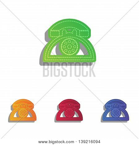 Retro telephone sign. Colorfull applique icons set.