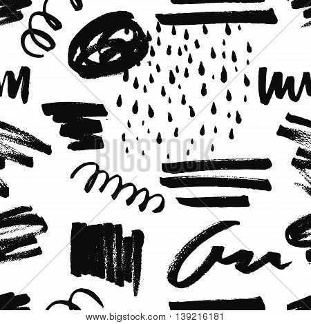 Abstract decorative seamless pattern with handdrawn shapes. Hand painted black design elements with rough edges on white backdrop. Endless background for decor, wrapping or cloth.