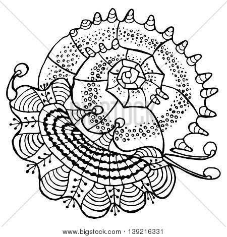 Abstract seashell line ethnic decorative ornament drawn outline isolated on white background sacred geometric decor element design print pattern vector illustration for coloring book or page for adult