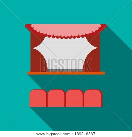 Cinema stage with red curtains icon in flat style on a turquoise background