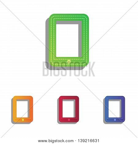 Computer tablet sign. Colorfull applique icons set.