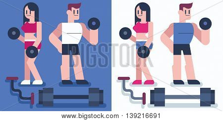Flat design of male and female characters training in gym.