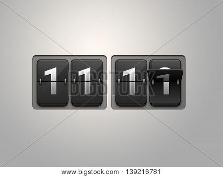 Flip clock show 11:11 on light grey background. Single man day.