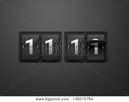 11:11 Time Flip clock. Wall flap counter clock. Flip clock show on dark grey background. Single man day.