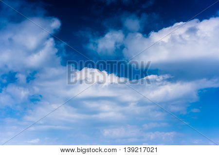 Clouds with blue sky high above the ground photo from airplane