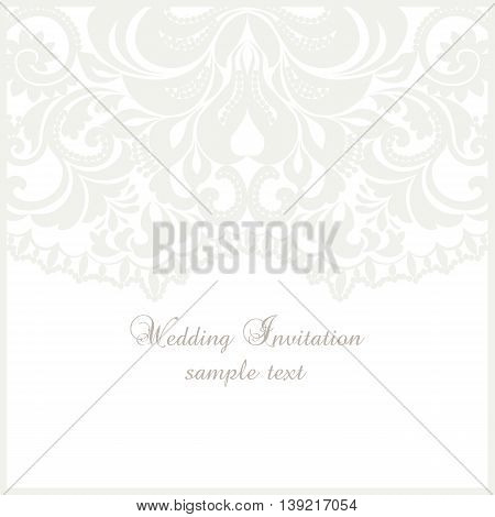 Wedding Lace card. Elegant ornate lace frame vector greeting card or invitation design. Template for wedding invitation or greeting card with lace fabric background