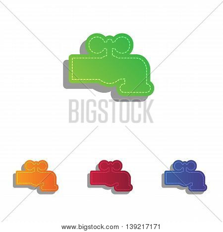 Water faucet sign illustration. Colorfull applique icons set.