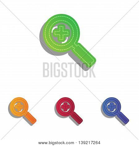 Zoom sign illustration. Colorfull applique icons set.