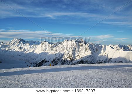 Alps morning in the winter of Ischgl - Mountain Alps, Austria