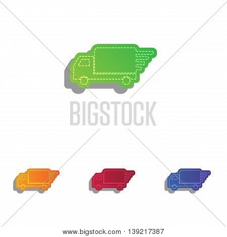 Delivery sign illustration. Colorfull applique icons set.