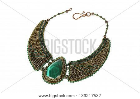 beautifully embroidered beads necklace unique handmade isolated on white background