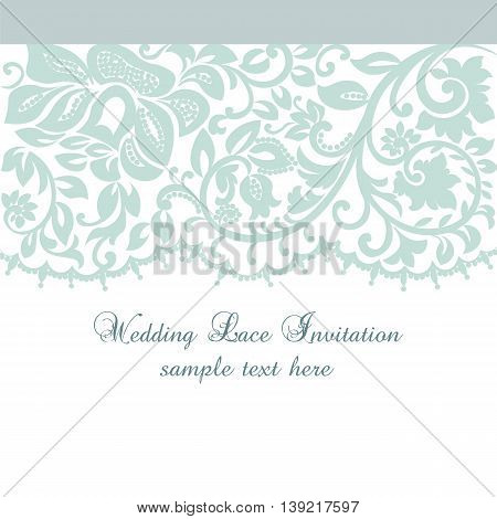 Vector Lace Invitation card with lace floral ornament. Delicate lace design card for wedding ceremonies anniversary party events. Green color