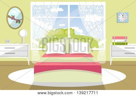 Interior, bedroom, bed, dresser, window, curtains, carpet, flat style, cartoon, vector