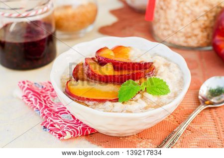 Creamy Oat Porridge With Honey Apples