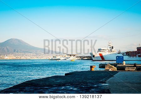 Street view of Naples harbor with boats, italy Europe