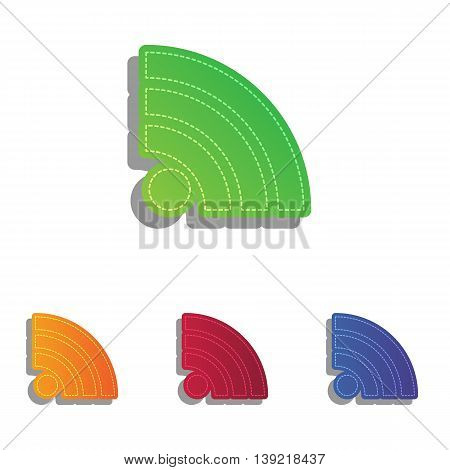 RSS sign illustration. Colorfull applique icons set.