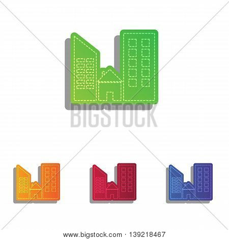 Real estate sign. Colorfull applique icons set.