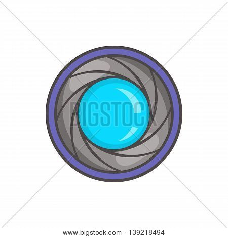 Camera aperture icon in cartoon style on a white background