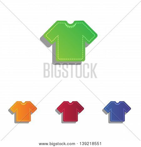 T-shirt sign illustration. Colorfull applique icons set.