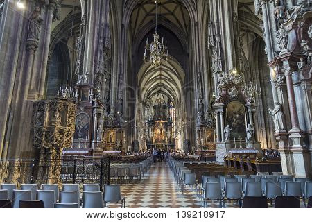 VIENNA, AUSTRIA, JULY 2,2016: Interior detail from St. Stephen's Cathedral, the most important religious building in Vienna, witnessing to many important events in Habsburg and Austrian history.