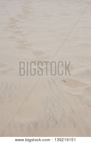 Background Sand With Footprints Of A Person In The Beach