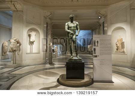 VIENNA, AUSTRIA, JULY 3,2016: Interior detail from Ephesos Museum inside Hofburg Palace, Vienna, displays antiquities from the city of Ephesus, in modern-day Turkey.