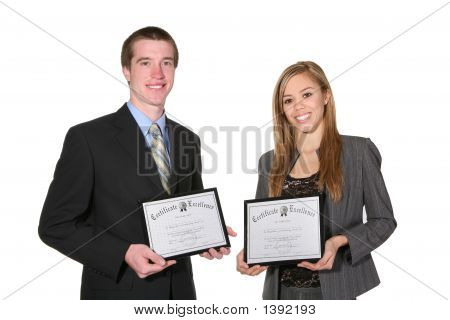 Man And Woman With Certificates