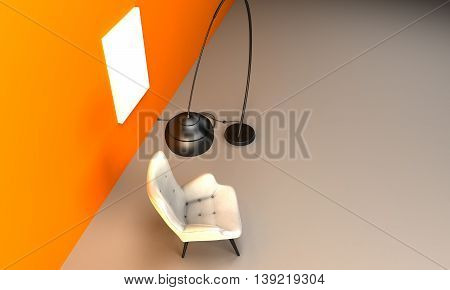 3D Illustration of a Chair floor lamp and poster frame. Mock up poster template. Orange background.