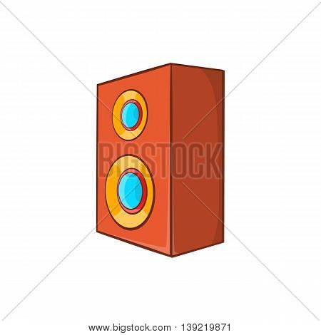 Brown speaker icon in cartoon style on a white background