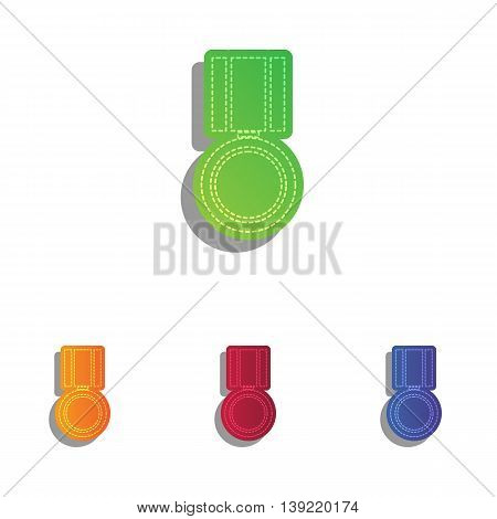 Medal sign illustration. Colorfull applique icons set.