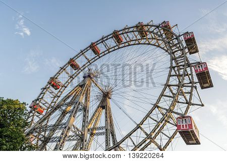 VIENNA, AUSTRIA, JULY 2,2016: Closeup detail from Wiener Riesenrad, a tall Ferris wheel at the entrance of the Prater amusement park in Leopoldstadt, the 2nd district of Austria's capital Vienna.