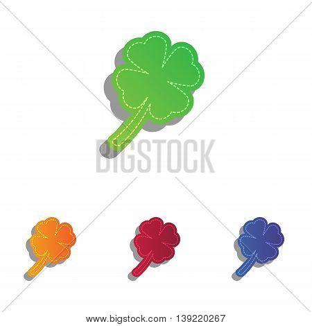 Leaf clover sign. Colorfull applique icons set.