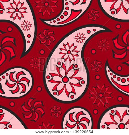 Abstract red seamless background. Paisley ornament. Vector illustration.