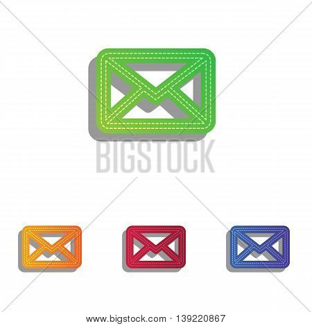 Letter sign illustration. Colorfull applique icons set.