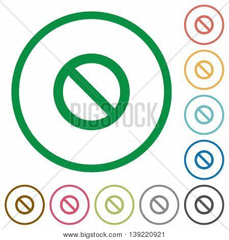 Set of blocked color round outlined flat icons on white background