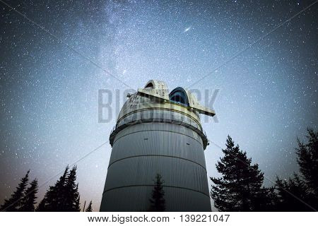 Astronomical Observatory Under The Night Sky Stars. Vignette