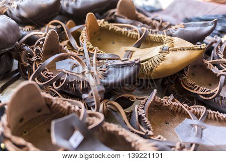 Bulgarian Leather Folklore Shoes