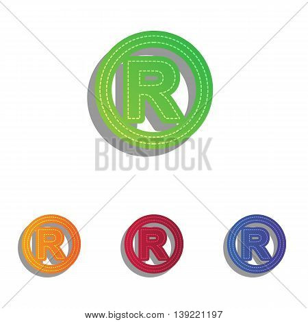 Registered Trademark sign. Colorfull applique icons set.