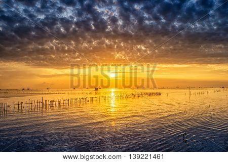 Sunrise Time Thai Fisherman Village In Bangtaboon Petchaburi, Thailand