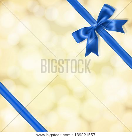 blue silky bow and ribbon on blurry gold background. vector