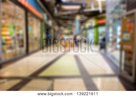 Pavilion Shopping Center. Blurred Background