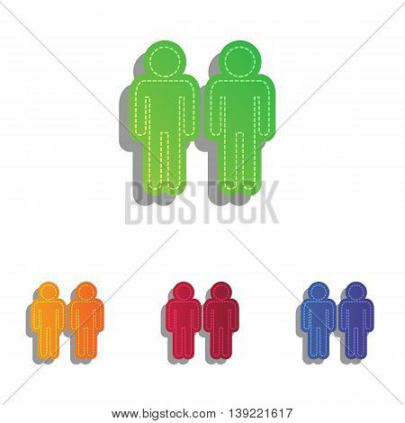 Gay family sign. Colorfull applique icons set.